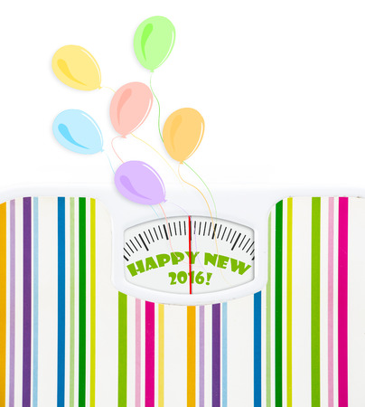 Bathroom scale with balloons and 2016 celebration text on dial, with lines no numbers