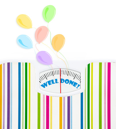 Bathroom scale with balloons and celebration text on dial, with lines no numbers