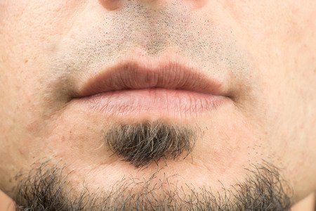 healthy mouth: Closeup on mouth of males face