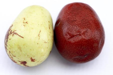 national fruit of china: Jujube fruits closeup,isolated on white background