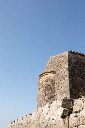 copyspace: Stone byzantine building on blue sky with copy-space. Stock Photo
