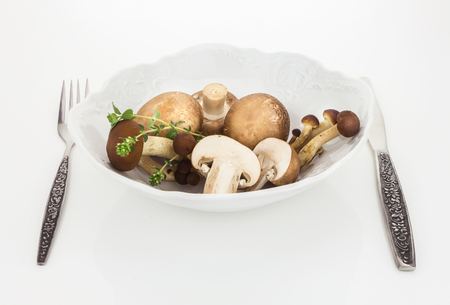button mushroom: Button mushrooms and brown beech mushroom in bowl with fork and knife, on white background. Stock Photo
