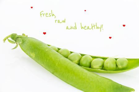 pea pod: Fresh green pea pod closeup with text, on white background Stock Photo