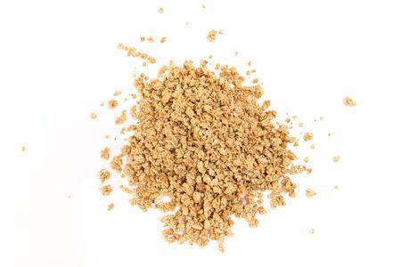 Granola heap, isolated on white background.
