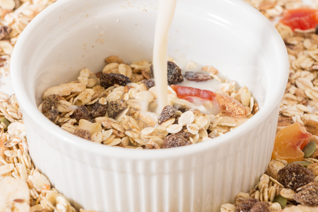 Bowl of muesli dry fruits and plant milk