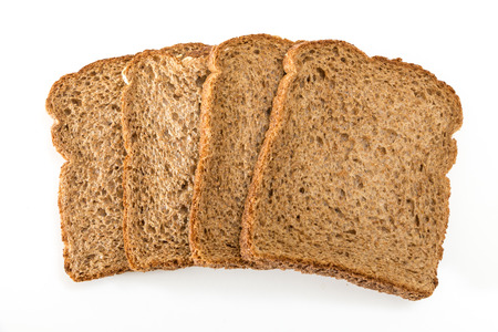 Whole grain sandwich bread slices, on white background. Stok Fotoğraf