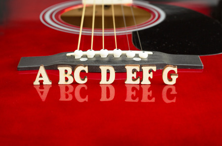 Musical notes ABCDEFG with wooden letters, on reflecting surface of an acoustic guitar. Guitars bridge perspective. Creative background.