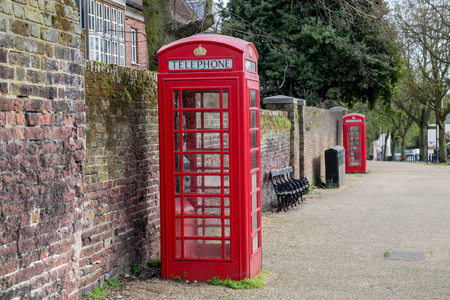 antique booth: Classic red British telephone box in London, UK