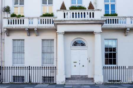 typically british: LONDON, UK - April, 14: Houses in London, english architecture, UK
