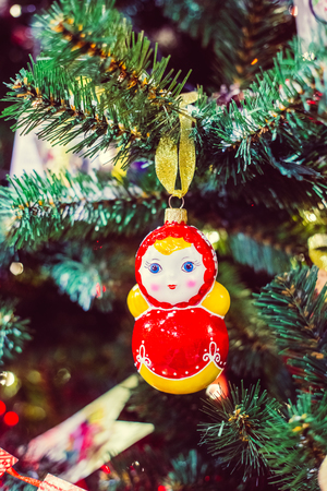 russian christmas matryoshka doll decorations on the christmas tree stock photo 67651699