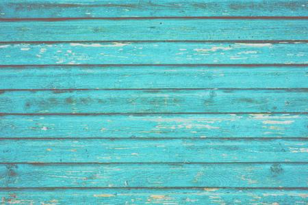 Sektion der türkisblauen Holztäfelung von einer Strandstrandhütte. Standard-Bild