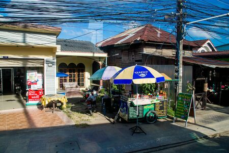 Thailand, Phuket - 19 February 2017 : Typical scene of life on the street in Thailand. street food tray