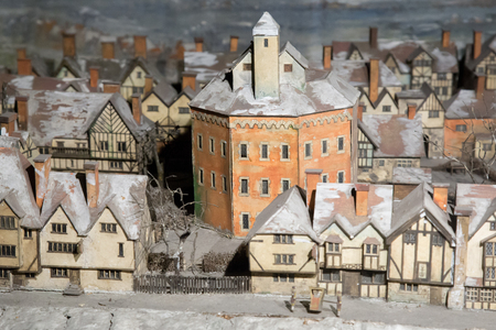 globe theatre: UK, London - 09 April 2015 : Mock-up of London. Middle Ages. The layout is in Shakespeares Theater