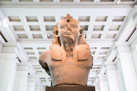 thebes: UK, London - April 08, 2015: British Museum. Bust of King Amenhotep III or Amenophis III. Editorial