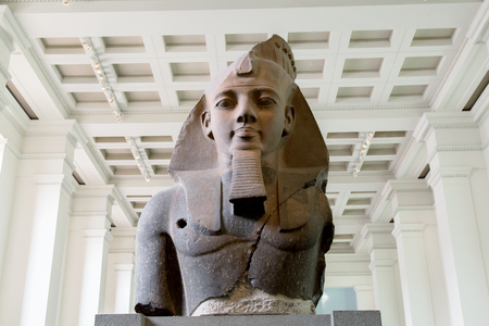 archaeological: UK, London - April 08, 2015: British Museum. Bust of King Ramesses II Editorial