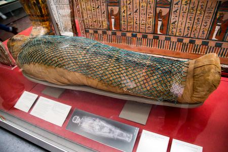 UK, London - April 08, 2015: British Museum. Egyptian mummy