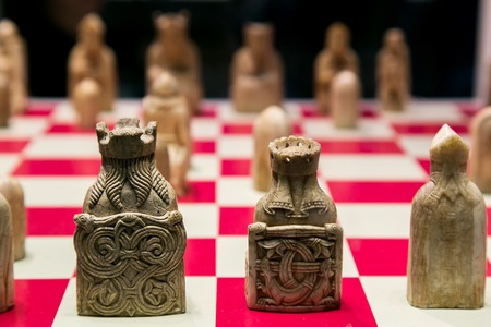 Ancient chess made from walrus ivory and whale tooth. Medieval Europe.