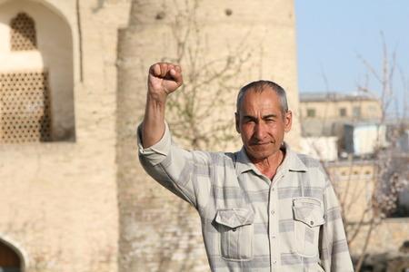 Bukhara, UZBEKISTAN - March 08, 2009: Portrait of unidentified Uzbek man Editorial