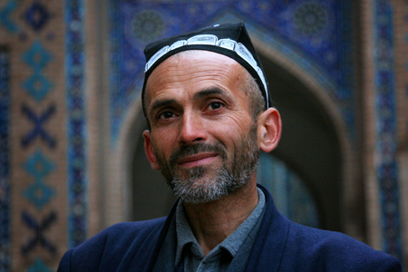 Samarkand, Uzbekistan - March 08, 2009: Portrait of unidentified Uzbek man with beard Editorial