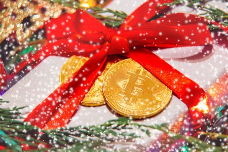 gift for christmas or new year bitcoin Imagens