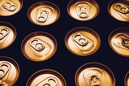 metal beer cans background black