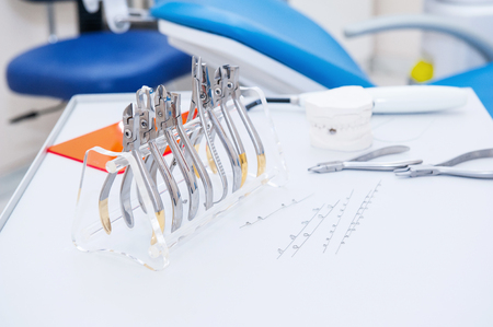 orthodontist: Close up Orthodontist Dental set of clamps and pliers and other tools on the working table surface