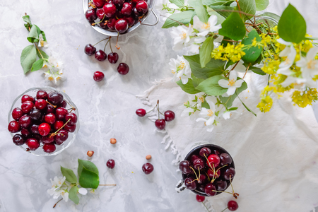 Top View Fresh Cherry Fruit In Glass Vase Other Dishes With Stock