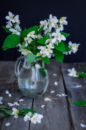 contryside: Stilllife card with jasmine flowers in glass jar, separate branches with flowers and petals on the wooden rustic table. Soft selective focus