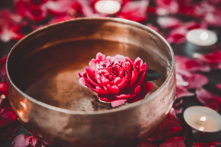 Tibetan singing bowl with floating inside in water red peony flower. Burning candles and petals on the black stone background. Meditation and Relax. Exotic massage. Selective focus. Dark toning