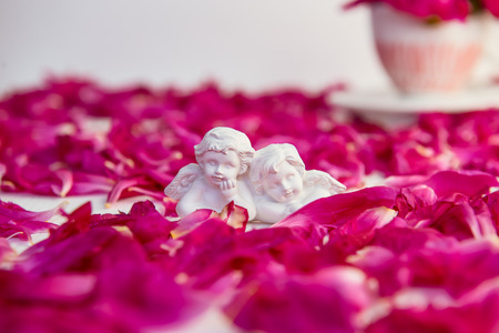 Statuette of two antique little lovely angels of the gypsum on the white background with pink purple peony flower petals. Love, romantic, Valentines day concept. Close up, selective focus. Copy space Reklamní fotografie
