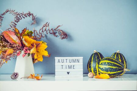 Box with text AUTUMN TIME, decorative striped pumpkins, vase with bouquet of falling leaves and fern on gray blue wall background. Autumn natural home interior decor. Eco, simple style. Copy space