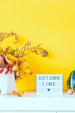 Box with text AUTUMN TIME, decorative striped pumpkins, vase with bouquet of falling leaves, fern on yellow wall background. Autumn natural home interior decor. Eco, simple style. Vertical. Copy space.