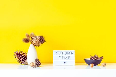 Box with text FALL TIME, dried flowers, thorns in light vase, pine cones and other natural decor on yellow wall background. Eco, simple home interior style. Minimalism. Autumn concept. Copy space Banco de Imagens