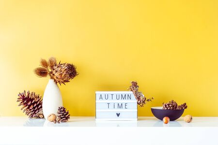 Box with text FALL TIME, dried flowers, thorns in light vase, pine cones and other natural decor on golden wall background. Eco, simple home interior style. Minimalism. Autumn concept. Copy space