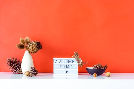 Box with text FALL TIME, dried flowers, thorns in light vase, pine cones and other natural decor on red wall background. Eco, simple home interior style. Minimalism. Autumn concept. Copy space
