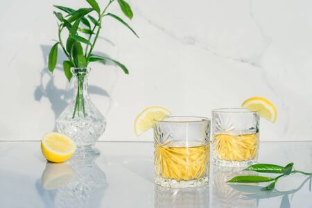 Two crystal glasses with yellow cocktails decorated with lemon. Vase with fresh greenery and glass goblets with green tea, alcohol drink on marble background. Direct sunlight and shadows. Minimalism