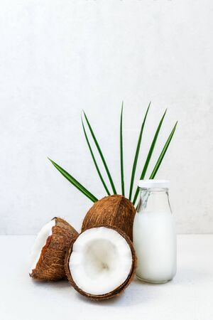 Fresh, healthy vegan plant base coconut milk with whole nuts and pulm leaf on the white background. Natural coconut oil for cooking and skincare. Selective focus. Vertical card. Copy space. Archivio Fotografico