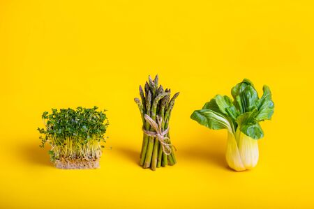 Green healthy food on yellow background. Pak Choi, asparagus and fresh sprouts of Water Cress salad. Vegetarian and vegan diet. Veganism. Sustainable lifestyle, good eats, plantbased foods. Copy space
