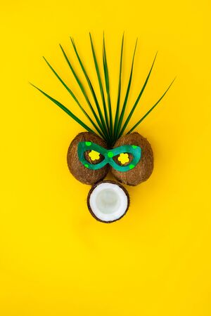 Funny face with astonished expression made of coconuts and pallm leaf on yellow background. Flowers shaped eyes in bright glasses. Exotic mask. Minimalism creative concept. Selective focus. Copy space.