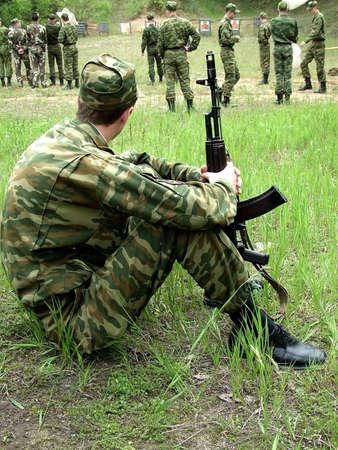 sitting soldier photo