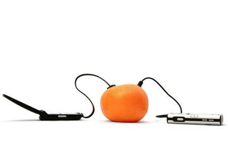 uploading: charging and uploading data via fruits