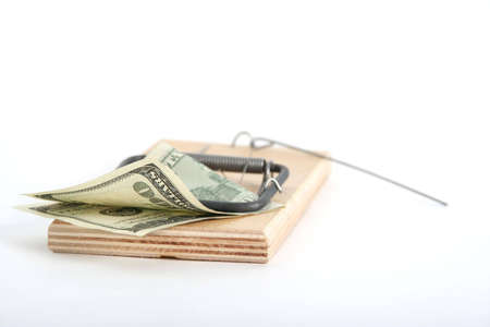 one hundred dollars banknote in the mousetrap Stock Photo - 899186
