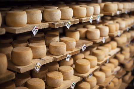 Cow milk cheese, stored in a wooden shelves and left to mature Stock Photo - 16898989