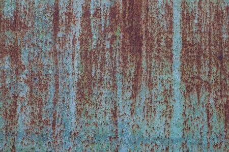 metal wall: Rusted blue painted metal wall. Texture. Metal