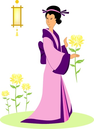 geisha with yellow chrysanthemum in the autumn holiday of chrysanthemums