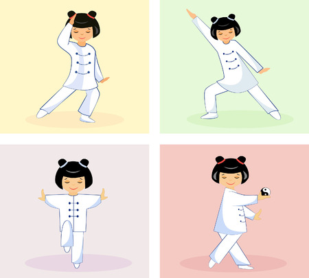 Illustration of a set of four Chinese girls performing Taichi and qigong exercises Illustration