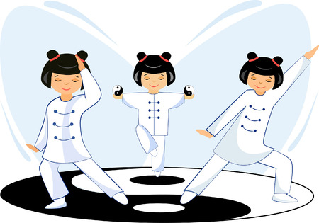 Illustration of a girl doing exercises tai Chi Ilustração
