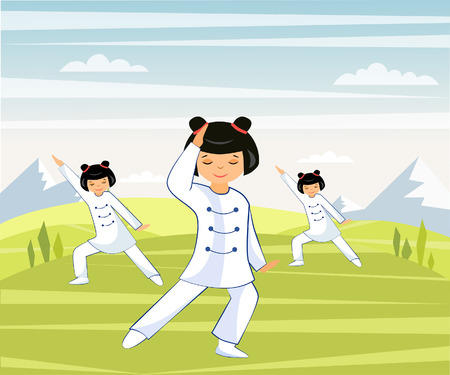 Illustration of a Chinese girl he does tai Chi and qigong in a mountain valley Illustration