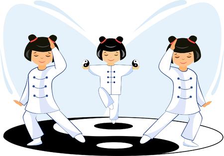 Illustratie van een Chinees meisje dat met ballen tai Chi mediteert, oefeningen doet