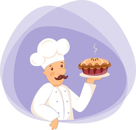 Vector illustration of pastry chef with Apple pie on harvest festival Vettoriali